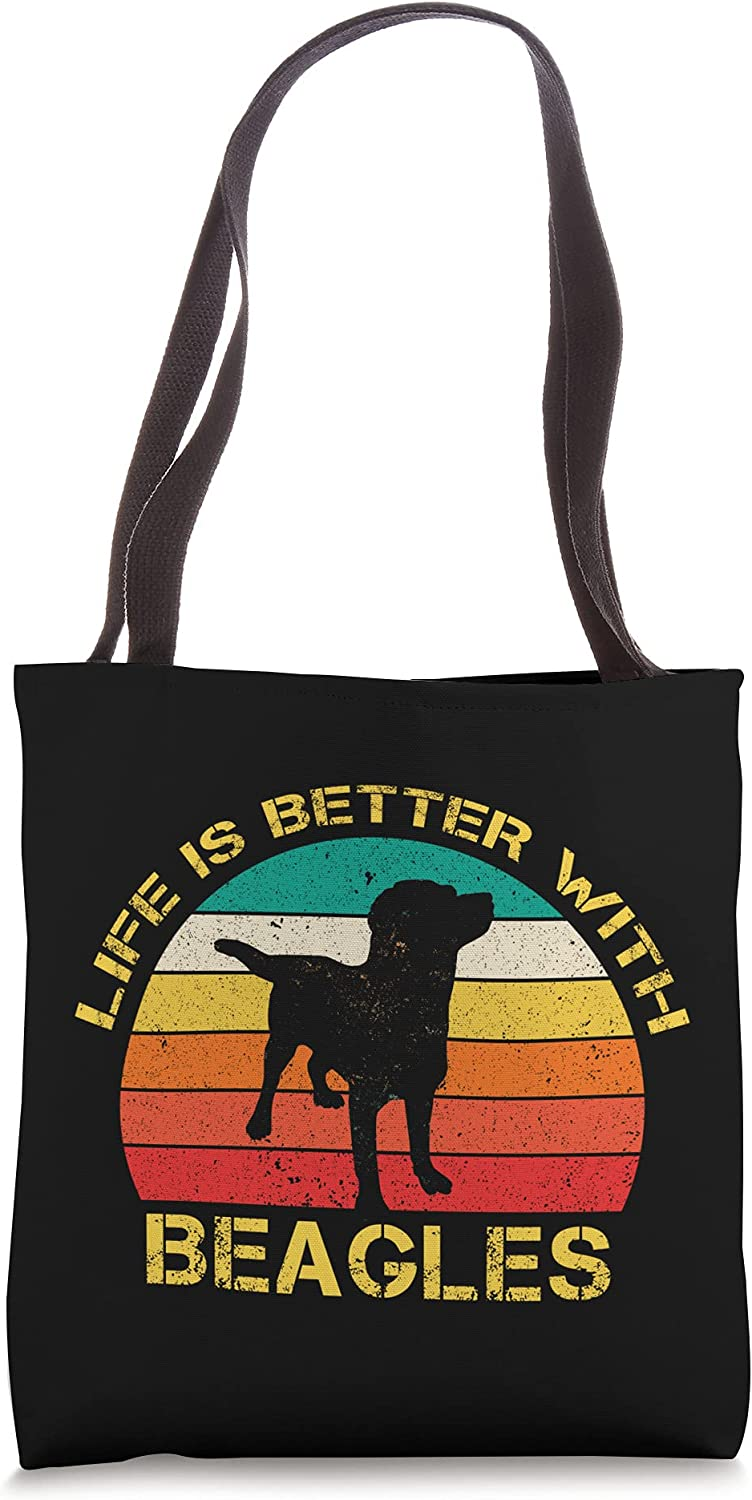Life Is Better With Beagles Doodle Retro Funny Beagle Tote Bag