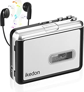 ikedon Cassette Player, Walkman Cassette Player Captures MP3 Audio Music Via USB, Tape Player with Headphones for Laptop & PC