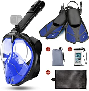 Odoland 5-in-1 Snorkeling Packages, Full Face Snorkel Mask with Adjustable Swim Fins, Lightweight Backpack and Waterproof ...