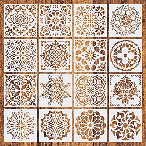 Swetup Mandala Schablone Set, 16 Stück Schablone Mandala Weiß Malschablone Mandala Schablone Dotting Schablone Wandschablonen Malerschablonen für DIY Wand, Felsen Stein, Holzmöbel und Mehr