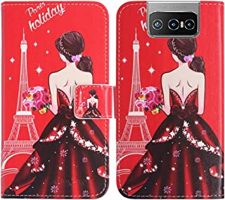 TienJueShi Dream Girl Fashion Stand TPU Silicone Book Stand Flip PU Leather Protector Phone Case For Asus Zenfone 7 Pro ZS...