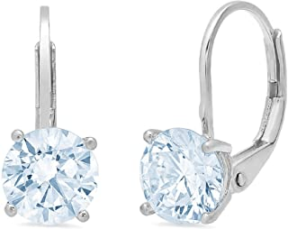 4.0 ct Brilliant Round Cut Solitaire Aquamarine Blue Simulated Diamond CZ VVS1 Ideal Anniversary gift Leverback Drop Dangle Earrings Real Solid 14k White Gold, Clara Pucci