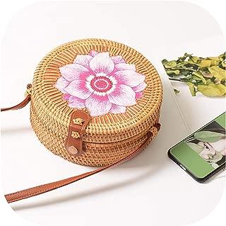 Women Round Rattan Straw Bag Rattan Retro Art Handmade Petal Bag Woven Bag Pu Shoulder Strap