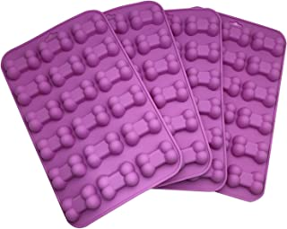 AxeSickle (4 per pack) Silicone Baking Molds Cake Chocolate Candy Pans Dog Treats Bones Silicone Mold,Mini Bone Shape Silicone Ice Cube Trays, Silicone Bone Pet Cookies Molds.