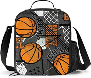 FeHuew Grunge Boys Basketball Insulated Lunch Bag Cooler Lunchbox Shoulder Straps Lunch Box Container for Girls Boys Women...
