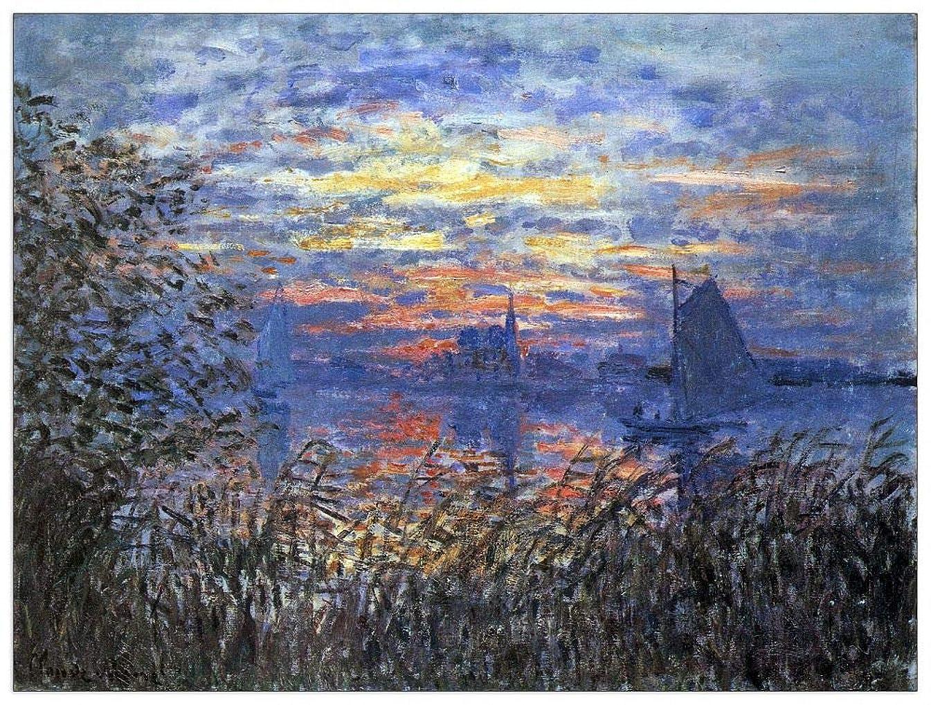 ArtPlaza TW91942 Monet Claude - Sunset on The Seine Decorative Panel 35.5x27.5 Inch Multicolored