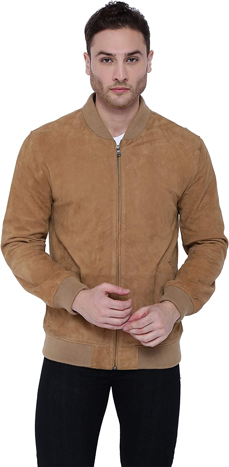 Tan & Brun Rugby Genuine Lambskin Leather Bomber Jacket with stand collar for Men (Black/Tan)