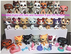 USA Warehouse Random 4 Lot LPS Cat and Dog LPS Dachshund LPS Collie LPS Great dane Dog Puppy LPS Shorthair Cat Kitty with Random 4 Pcs Accessories Bows Food Action Figure Kids Boys Girls Xmas Gift