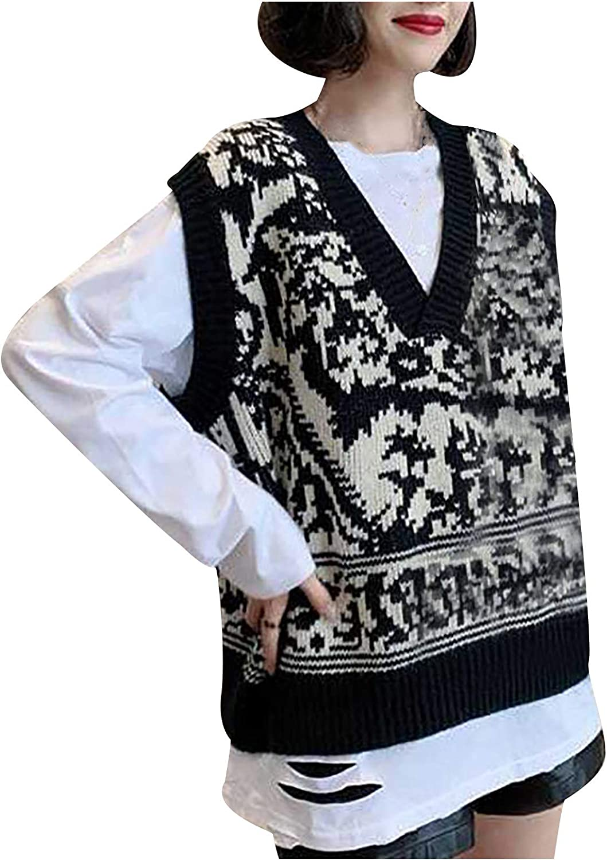 Yliquor Women's Sweater Knitted Printed Sleeveless V-Neck Vest Preppy Style Knitwear Tank Top Black