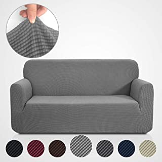 Rose Home Fashion RHF Jacquard-Stretch Sofa Cover, Slipcover for Leather Couch-Polyester Spandex Sofa Slipcover&Couch Cover for Dogs, 1-Piece Sofa Protector(Sofa: Gray)