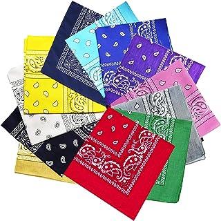 ATIMIGO 12 Pack Cotton Bandanas Scarf Novelty Head Warp Wristband Bandanas for Women Men