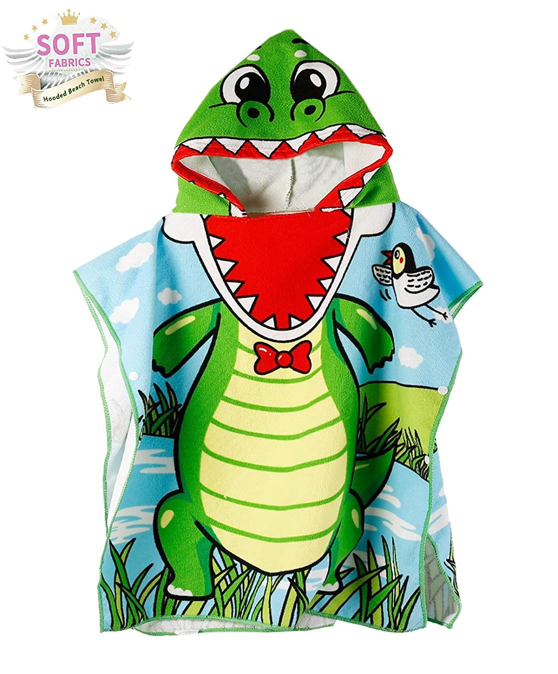 Genovega Toddler Hooded Beach Bath Towel – Baby Dinosaur Soft Beach Towel Swim Pool Coverup Poncho Cape for Boys Kids Children Gift, 1-7 Years Old Bath Robe