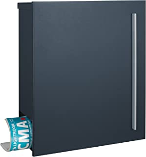 Mocavi Caja 210XXL de diseño de buzón grande color gris antracita (RAL 7016) con compartimento para el periódico, 16L, Post Buzón de pared Buzón con cerradura derecha