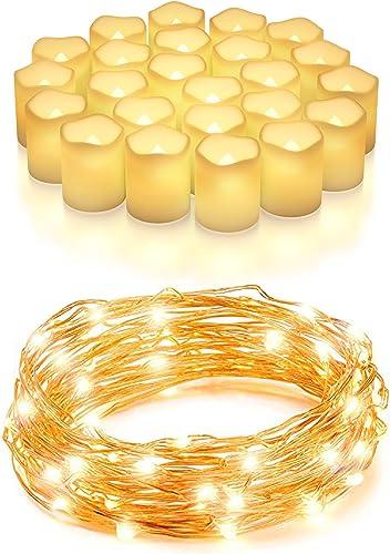 wholesale Vont Cozy Home Lighting Bundle - 24-Pack Votive Candles + wholesale 200 LED String Lights - Ideal Home Lighting Decor for The Living Room, Bedroom, Patio, Garden - Long-Lasting, Durable, Safe online for Prolonged Use outlet online sale