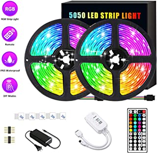SONATA LED Strip Lights, 32.8ft RGB LED Light Strip Tape Lights, IP65 Waterproof Color Changing LED Strip Lights with Remote for Home Lighting Kitchen Bed Flexible Strip Lights for Bar Home Decoration