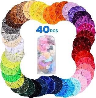 Velvet Hair Scrunchies, 40Pcs Colorful Elastic Hair Ties