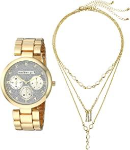 Madden Girl Watch with Charm and Stone Bracelet Set SMGS020