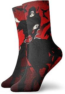 Hangdachang, Cesta de regalo familiar de Navidad Anime Naruto Uchiha Calcetines de compresión clásicos deportes personalizados 30 cm calcetines largos para hombres y mujeres