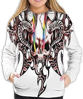Women's Hoodie,Goat Skull Shaped Swirl Blur Lines in Digital Watercolor Stylized Artsy Design Print,Lady Sweatshirt