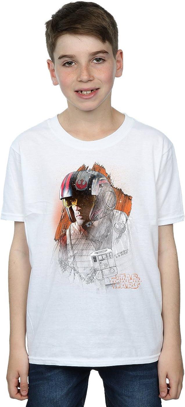 STAR WARS Boys The Last Jedi Poe Dameron Brushed T-Shirt 5-6 Years White