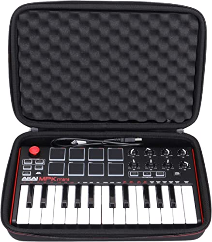 LTGEM Travel Hard Carrying Case for Akai Professional MPK Mini MKII & MPK Mini Play | 25-Key Ultra-Portable USB MIDI ...