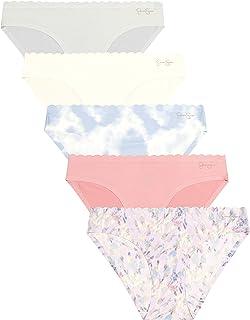 Women's Brushed Bikini Underwear Multi-Pack, (5-Pack) Abstract Print/Peony/Te Dye/Angel Wing/Micro Chip, X-Large