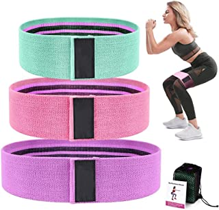 Santo Fabric Resistance Booty Loop Band, Non-Slip Elastic Workout Exercise Bands, Cotton and Rubber Fabric, Stretch Hip Ba...