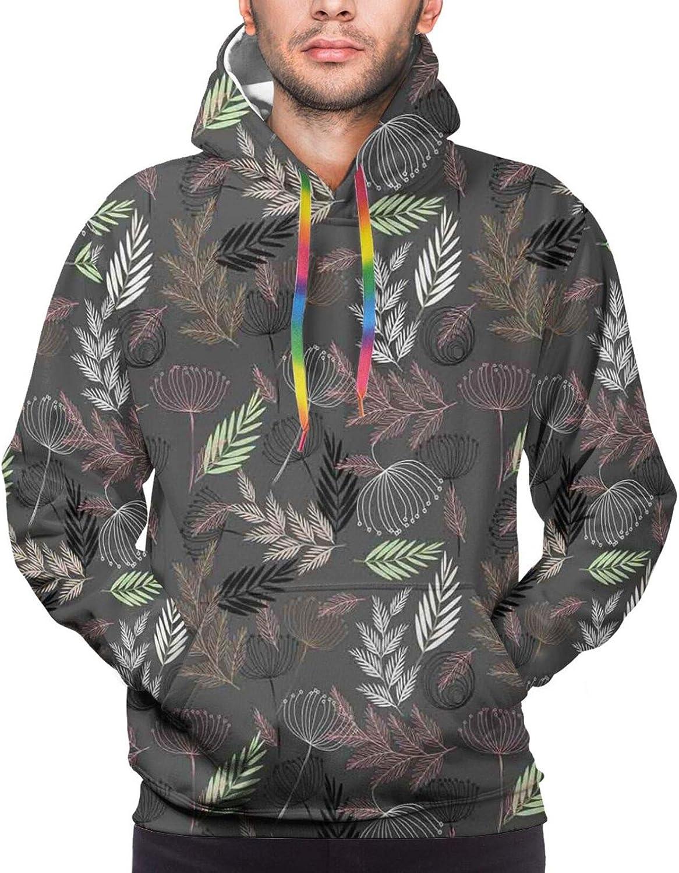 Men's Hoodies Sweatshirts,Abstract Modern Art Deco Design Inspired Birds and Leaves Illustration