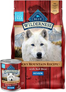 Blue Buffalo Wilderness Rocky Mountain Recipe High Protein, Natural Senior Dry Dog Food and Wet Dog Food Bundle, Red Meat (4-lb + 12.5oz cans 12ct)