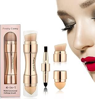 4 in 1 Portable Makeup Brushes, ColorfulLaVie Makeup Brush Set - Lip Brush, Smudge Brush, Contour & Blush Brush, Sponge Brush,Multi-foundational Makeup Brush for Travel & Household Use (Champagne)