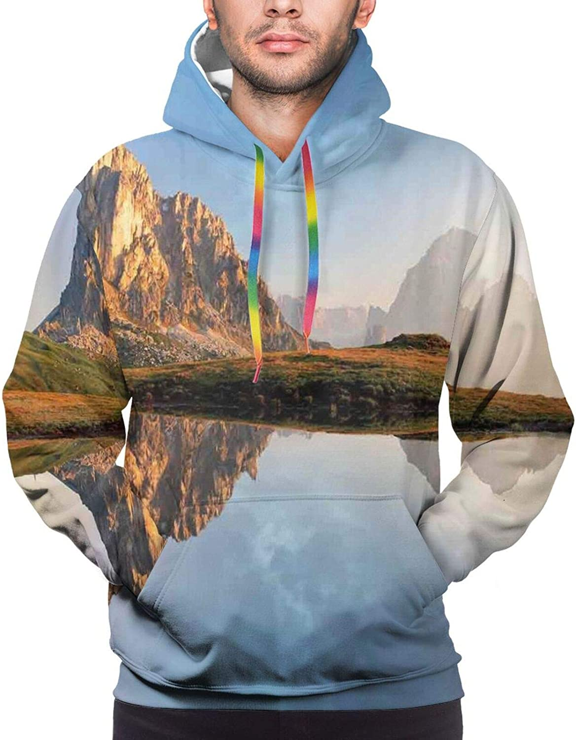 Men's Hoodies Sweatshirts,Rainbow On A Meadow with Road and Trees Starburst Stripes in The Sky Spring Season