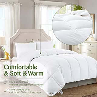 Sophia and William Goose Down Comforter King Size Duvet Insert Hypo-allergenic All Season Down Comforter 750+ Fill Power Cotton/Poly, Solid White