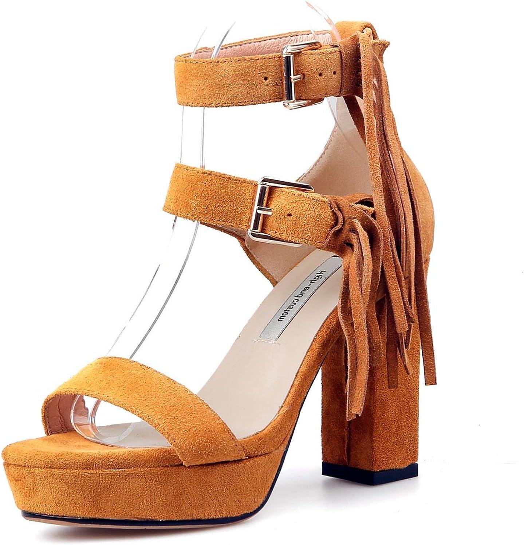 VIMISAOI Women's Summer Classic Open Toe High Heel Sandals Tassel Design Ankle Strap Double Buckle Sandals