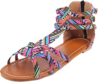 Women Strappy Gladiators Sandals with Zipper Buckle Bohemia Thong Criss Cross Wrap Ankle Strap Flats Open Toe Summer Beach Shoes Plus Size