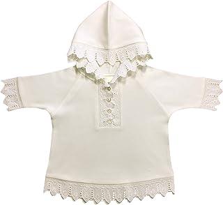 Victorian Organics Little Girls Hoodie Organic Cotton and Lace Toddler Button Henley Shirt