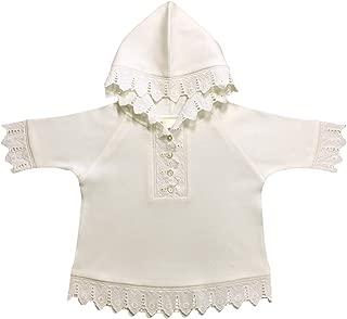 Victorian Organics 婴儿连帽衫有机棉和蕾丝婴儿纽扣亨利衫