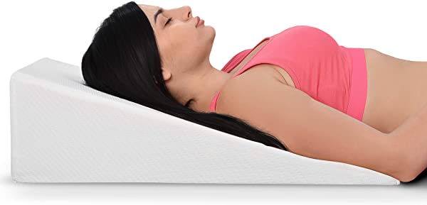 Bed Wedge Pillow With Memory Foam Top Ideal For Comfortable Restful Sleeping Alleviates Neck And Back Pain Acid Reflux Snoring Heartburn Allergies Versatile Washable Cover 7 5 Inches