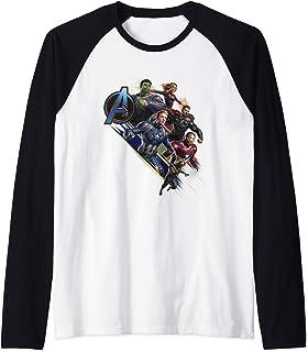 Marvel Avengers Endgame Assembled Team Group Shot Logo Manche Raglan