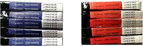 Parijata Acid/Base Indicator Strips, Litmus Paper, Red, Blue, 100 Red + 100 Blue Strips