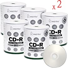 Smart Buy CD-R 1000 Pack 700mb 52x Printable Silver Inkjet Blank Recordable Discs, 1000 Disc, 1000pk