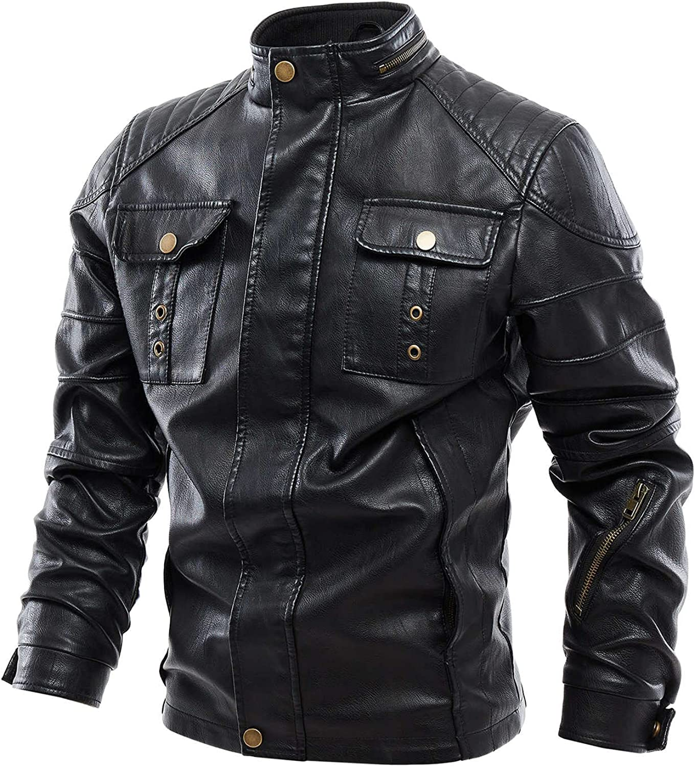 ZDNB 2021 Men's Winter Slim-fit Faux Leather Jacket Zipper Turn-down Neck Suede Leather Coat Casual Motorcycle Outwear
