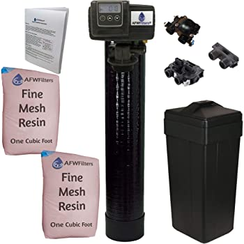 AFWFilters AFW Filters IRON Pro 2 Combination water softener iron filter Fleck 5600SXT digital metered valve for whole house (64,000 Grains, Black)