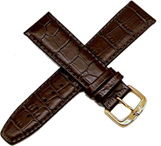 """Jacques Lemans 22MM Alligator Grain Genuine Leather Watch Strap 8"""" Brown with Rose Gold JL Initial Buckle"""