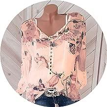 Button Women Shirts Autumn Casual V-Neck Chiffon Blouse Women Top Camisa