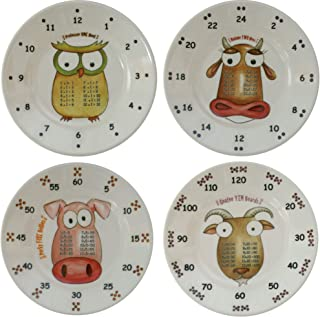 theMultiples Times Table Dinnerware 4-Piece Early Years 6 inch Melamine Plate Set