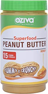 OZiva Superfood Peanut Butter, Crunchy with Moringa, Pomegranate, Brahmi, Honey and More, 850 g