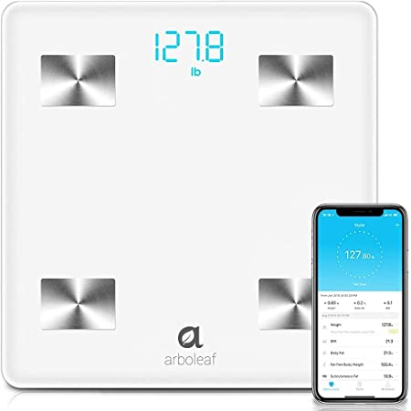 Arboleaf Digital Scale, Bluetooth Smart Scale Scales for Body Weight, Body Fat Monitor, 14 Key Composition, iOS Android APP, Unlimited Users, Auto Recognition, BMI, BMR