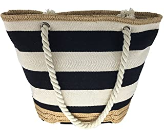 MeliMe X-Large Travel Shoulder Beach Tote Bag with Handmade Woven Straw Binding Cotton Rope Handles Waterproof Lining and a Pocket Inside. (Style 01)