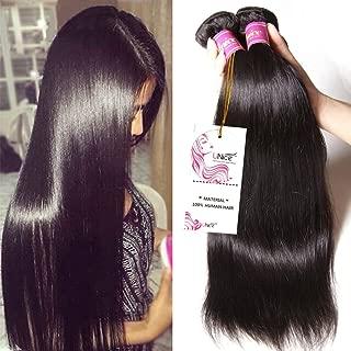 Unice Hair 8a Malaysian Straight Hair 4 Bundles Virgin Unprocessed Human Hair Wefts Hair Extensions Deal with Mixed Lengths 100% Human Hair Extensions (18 20 22 24, Natural Black)