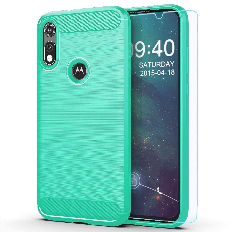 M MAIKEZI Moto E 2020 case,Motorola E case,with HD Screen Protector, Soft TPU Slim Fashion Non-Slip Protective Phone Case Cover for Motorola Moto E (2020) (Mint Brushed TPU)